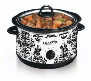 Quart Slow Cooker, Black Demask Pattern